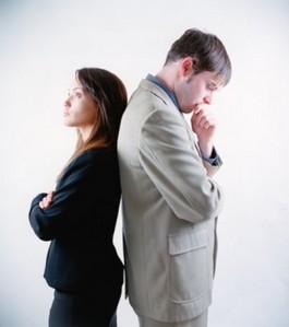 women and men distanced